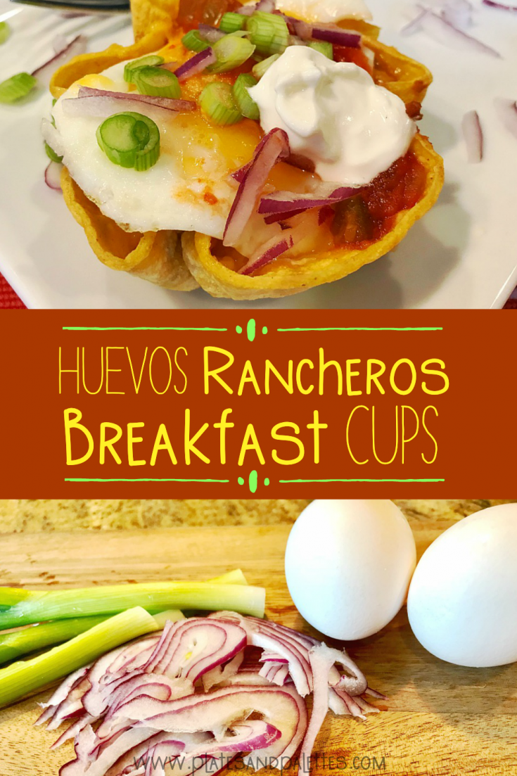 Traditional Huevos Rancheros in a corn tortilla cup - the easy to serve brunch or breakfast food. These Mexican breakfast cups are made using corn tortillas formed in muffin tins and filled with breakfast staples beans, eggs, onions, salsa, cheese and more. This is a unique breakfast idea, which is also a great make ahead breakfast or brunch. #HuevosRancheros #BreakfastCups #MexicanFood #Tortillas #MexicanBreakfast BreakfastFood #SingleServeBreakfast #GrabnGofoods #Eggs